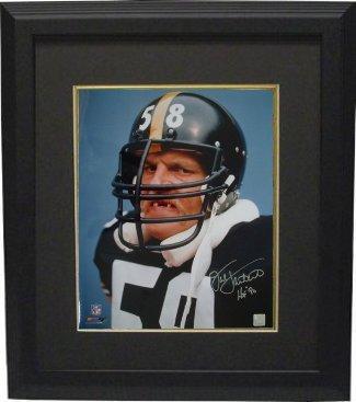 Photo Steelers Framed Pittsburgh (Athlon CTBL-BB16247 Jack Lambert Signed Pittsburgh Steelers Photo Tooth HOF 90 Custom Framed - Lambert Hologram - 8 x 10)