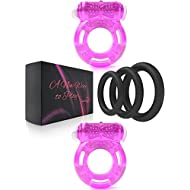 Cock Ring Set – 2 Vibrating Cock Rings w. Clit Stimulator & 3 Different Size Penis Ring – Erection Enhancing Sex Toy for Men and Couples