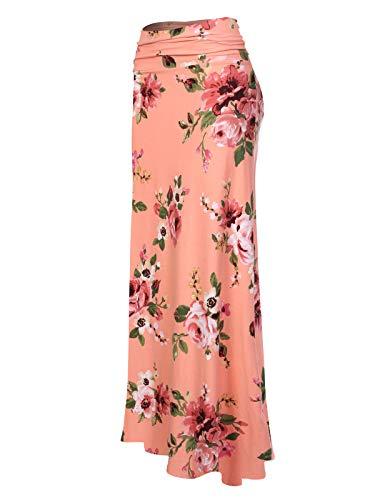 (MixMatchy Women's Basic Foldable High Waist Regular and Plus Size Maxi Skirts FLO Salmon Print S)