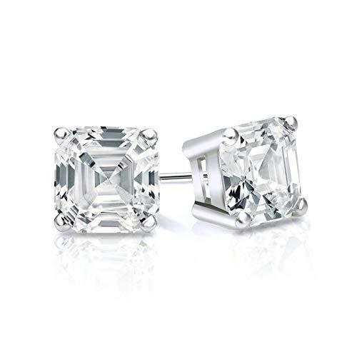 Tw Asscher Cut Earrings - bbamjewelry Certified 1 1/2 CT. TW. 4-Prong Basket Asscher Cut Real Moissanite Stud Earrings In Solid 14K White Gold
