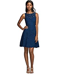 0bae9d513ba Short Sleeveless Illusion Lace Bridesmaid Dress Style F18031 · David s  Bridal