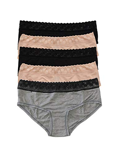 Felina | Women's Aubrie Cheeky Boyleg | Panty | 5-Pack | Low Rise | Lace (Black Fawn Grey Heather, Small)