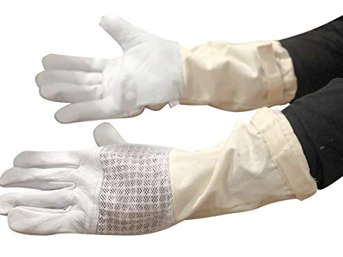 Massive Bee NEW Style Goatskin Beekeeping Gloves Goatskin Leather White color denim jeans cuff Maximum number of protection long sleeves, Elastic sleeves (XL)]()