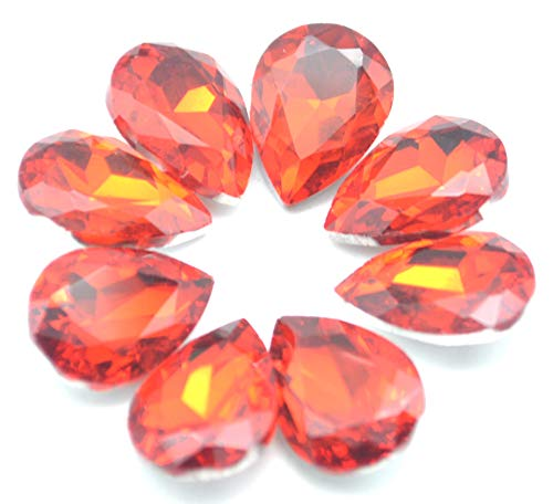 Catotrem Glass Teardrop Crystal Resin Rhinestone Pointback Faceted Jewelry Making DIY Craft 10x14mm(80pcs-Light red)