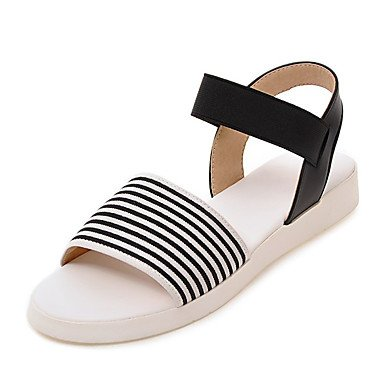 YFF Sandales femmes Talon plat similicuir split creux mixte-out,Black,US6.5-7 / EU37 / UK4,5-5 / CN37