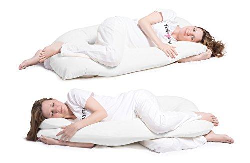 Schwangerschaftskissen, Seitenschläferkissen mit Öko-Tex Standard 100 - ergonomisch geformt - stützt Rücken und Bauch