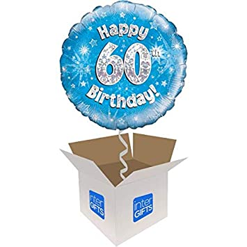 InterBalloon Helium Inflated Happy 60th Birthday Blue Holographic Balloon Delivered In A Box