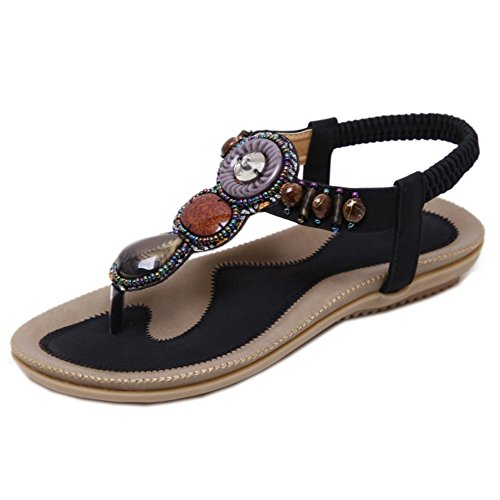 TAOFFEN Women Retro Slingbacks Sandals Flip Flop School Shoes Black Dg6MJcLa