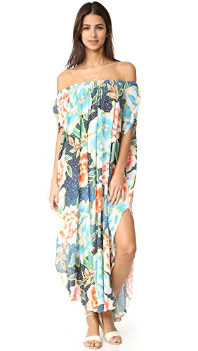 Mara Hoffman Women's Arcadia Crinkle Crepe Off the Shoulder Dashiki Cover up, Indigo, XS/S