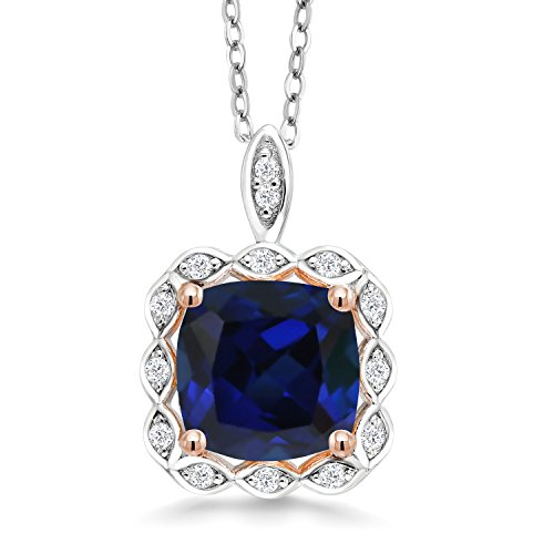 Gem Stone King 2.67 Ct Cushion Blue Simulated Sapphire 925 Sterling Silver Pendant