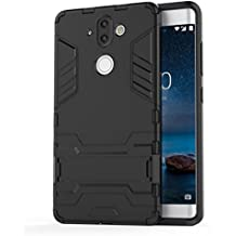 Nokia 8 Sirocco Case, TopACE Slim Robot Armor Stand Shockproof Hybrid Rugged Rubber Hard back Case for Nokia 9 / Nokia 8 Sirocco (Black)