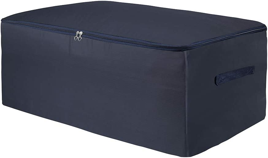 Clothes Storage Bag 105L Large Capacity Organizer with Reinforced Handle Thick Fabric for Comforters, Duvets, Blankets, Bedding, Foldable with Sturdy Zipper, Comfortable No-Smell,Navy Blue