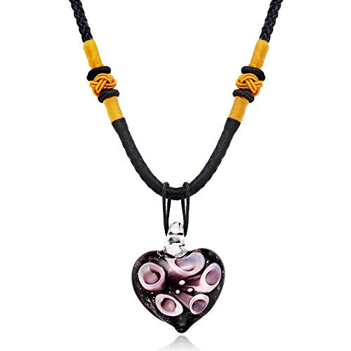 RanMory31 Glass Heart Pendant Ethnic Heart-Shaped Inner Flower Murano Glass Pendant Necklace Europe New Sweater Chain Heart Pendant Necklace for Women