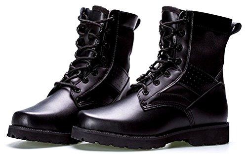 Ace Shock Tactical Boots Heren Winter, Fleece Gevoerde Militaire Schoenen Mid-kalf Lace Up Army Bootie Maat 6-10 Zwart (faux Fur Lined)