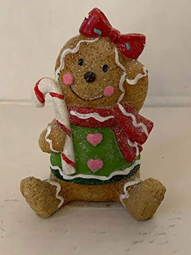 ghi Resin Gingerbread Christmas Tabletop Decorations (Green Sweater)