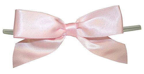 (Reliant Ribbon Satin Twist Tie Bows - Large Ribbon, 7/8 Inch X 100 Pieces, Light Pink )