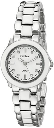 Armitron Women's 753888WTSVWT Swarovski Crystal Silver-Tone and White Enamel Bracelet Watch