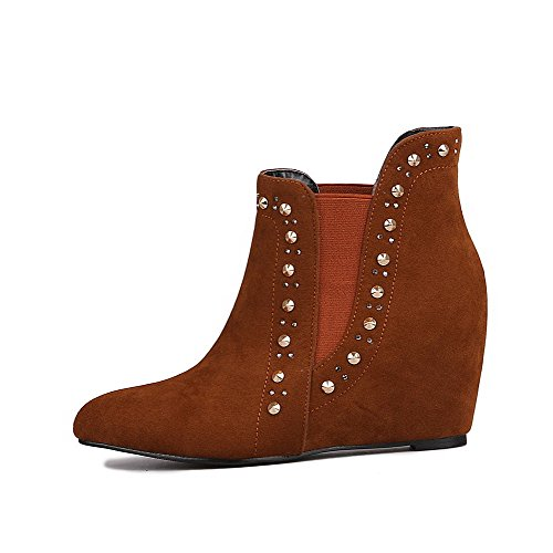Women's Boots Solid Brown AgooLar Frosted Closed High Pointed Heels Toe Top Low 7xxUf6wq