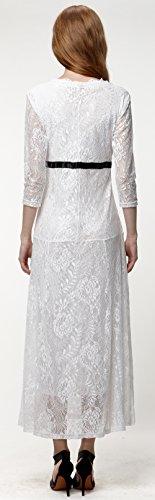 U-shot Mujer V Cuello Floral Encaje Vintage Elegante Vestido de Noche Largo Vestidos Blanco