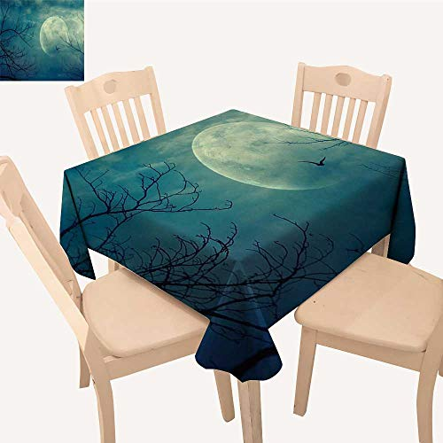 UHOO2018 Square/Rectangle Polyester Table Cloth Halloween Full Mo in and Dead Tree Branch Evil Haunted Blue Easy Care Spillproof,52x 52 inch -