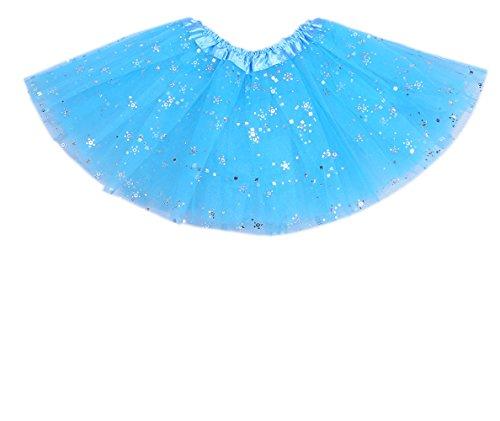 [Anleolife 12'' Princess Fairy Birthday Blue Ballerina Tutu Skirt Girls Dance Dress Tutus Flower Sequins] (Mermaid Fairy Costumes)