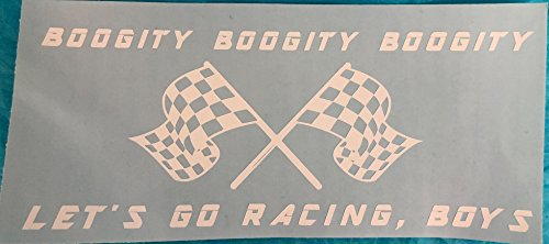 Boogity, Boogity, Boogity, Let's Go Racing, Boys, Checkered Flags, White, Vinyl Decal, New, Gift
