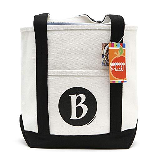 Teacher Peach Monogram B Tote Bag, Monogrammed Canvas Shoulder Bag for ()