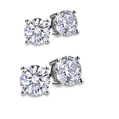 Large Round Prong (Fashion S925 Sterling Silver Cubic Zirconia Stud Earrings for Women 4 Prong Sparkling Round Pure Brilliance CZ Stud Earrings with Large Earring Back (Round Cubic Zirconia 6.5mm +8.0mm))
