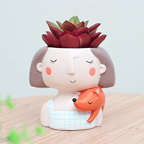 - Gotian Cute Cartoon Girl Vase Flower Cactus Planter Pot Container for Home Garden Office Desktop Decoration (B)