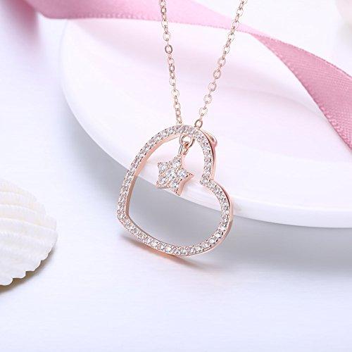 AieniD Frauen Halskette Sterling Silber Anhänger für Damen Herz mit Sternen Rose Gold Länge:41+5CM