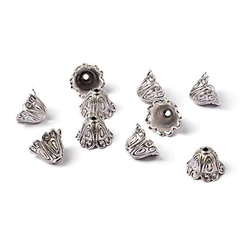 Craftdady 20Pcs Antique Silver Flower Spacer Bead Caps 15x11mm Cadmium Free & Lead Free Tibetan Metal Bead Cone End Caps Terminators for DIY Jewelry Making