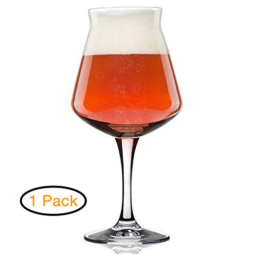Rastal Teku Stemmed Beer Glass -Nucleated Pint Craft Beer Glasses for Better Head Retention, Aroma and Flavor - 14.2 oz Beer Glass for Enhanced Beer Drinking Bliss - Gift Idea for Men ()