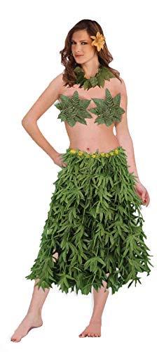 Forum Novelties Hawaiian Hula Dancer Set Green Leaf Bra Skirt Lei (3-Piece) -