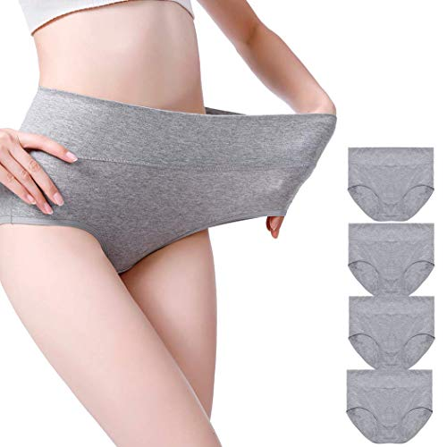 Envlon Womens Cotton Underwear, High Waist Soft Breathable Stretchy Ladies Panties Brief Multipack