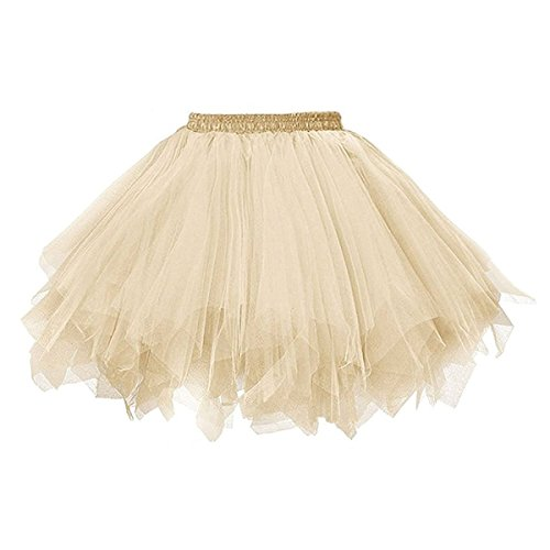 BIFINI Big Girls Tutu Skirts Layered Tulle Princess Dresses Sparkle Halloween Tutu Champagne