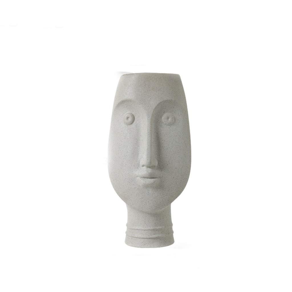 フェイス型セラミック花瓶リビングルームドライフラワーフラワーホームデコレーション SHWSM (サイズ さいず : 12.5*33.5*16cm) B07RXQBT25  12.5*33.5*16cm