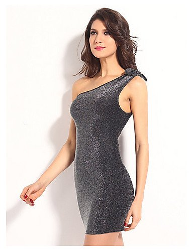 PU&PU Robe Aux femmes Moulante Sexy,Couleur Pleine Une Epaule Mini Polyester , gray-one-size , gray-one-size