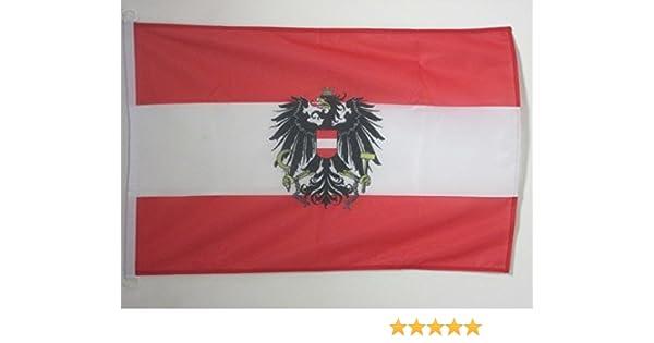 AZ FLAG Bandera de Austria con Aguila 90x60cm Uso Exterior - Bandera AUSTRÍACA con Armas 60 x 90 cm Anillos: Amazon.es: Jardín