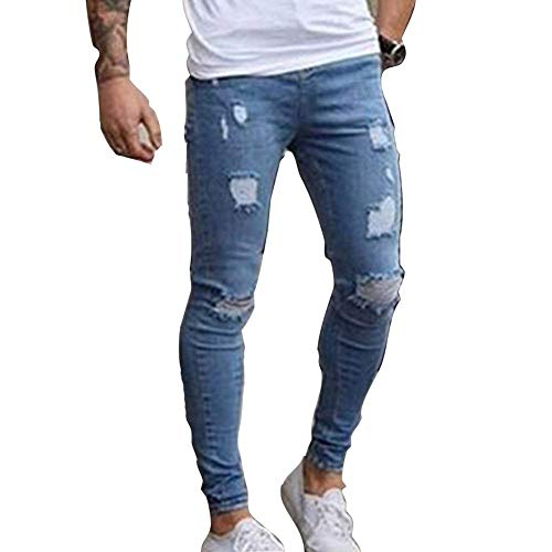 Masculina Straight Media Jeans Fit Stretch Skinny Denim R Slim Skinny Pantalones Ropa Destroyed Fit Hellblau Pantalones De Ripped Casual Cintura Moda Yw4CxIS