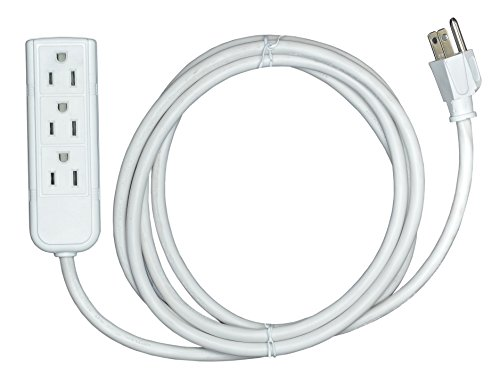 Arel Best Trade 3 Outlet Extension Cord, 8 Feet Cable with Ebook (White) by Arel Best Trade