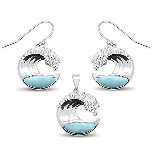 - Natural Larimar Clear Cubic Zirconia Ocean Wave Earrings Pendant Set Sterling Silver