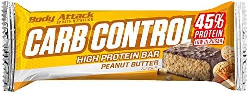 Body Attack Carb Control, Proteinriegel ohne Zuckerzusatz, Low Carb – High Protein, Eiweißriegel mit Whey, auch in der Mix-Box (Peanut Butter, 4 x 100g)