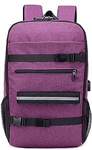 Nirmon Skateboard Backpack Anti-Theft Password Lock USB Charging Shoulder Bag for Travel Leisure Computer Long