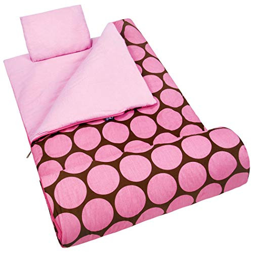 AM 2 Piece Kids Girls Pink Polka Dot Patterned Sleeping Bag, Circle Dot Bohemian Sophisticated Stylish Motif Slumber Party Sleep Sack Blanket, Fuschia Magenta Light Travel Bed Roll, Polyester