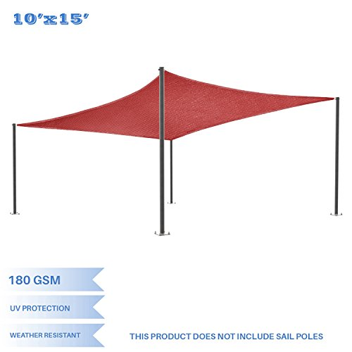 E&K Sunrise 10' x 15' Red Sun Shade Sail Square Canopy - Permeable UV Block Fabric Durable Patio Outdoor Set of 1