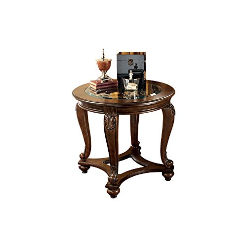 Ashley Furniture Signature Design - Norcastle End Table - Traditional Vintage Style - Round - Dark Brown Vintage Beveled Glass