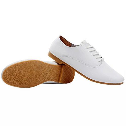 Cuir Doux Blanc Poids Bout Jamron Décontractée Confort Léger Plat Chaussures Lacer Pointu Oxfords Femmes x5HOwE