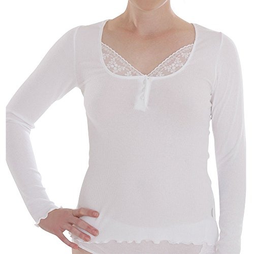 comazo Damen Shirt Langarm Bio-Baumwolle/Elasthan, Weiß, Gr. 40