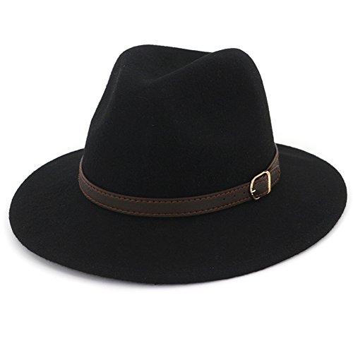 - Lisianthus Women's 100% Wool Fedora Panama Hat Wide Brim with Belt Black