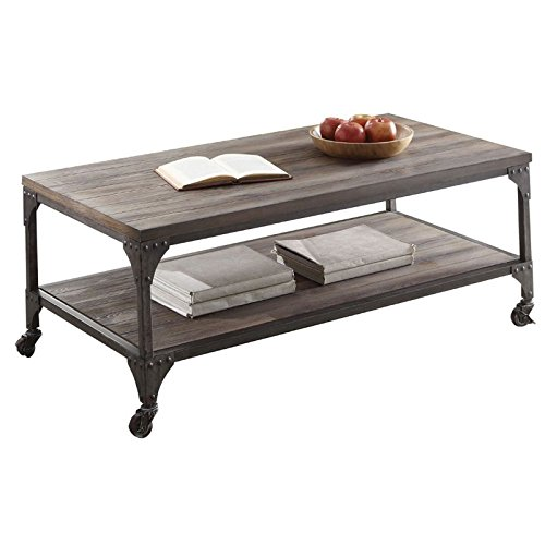 Oak Library Table - Acme Furniture 81445 Gorden Coffee Table, Weathered Oak & Antique Silver